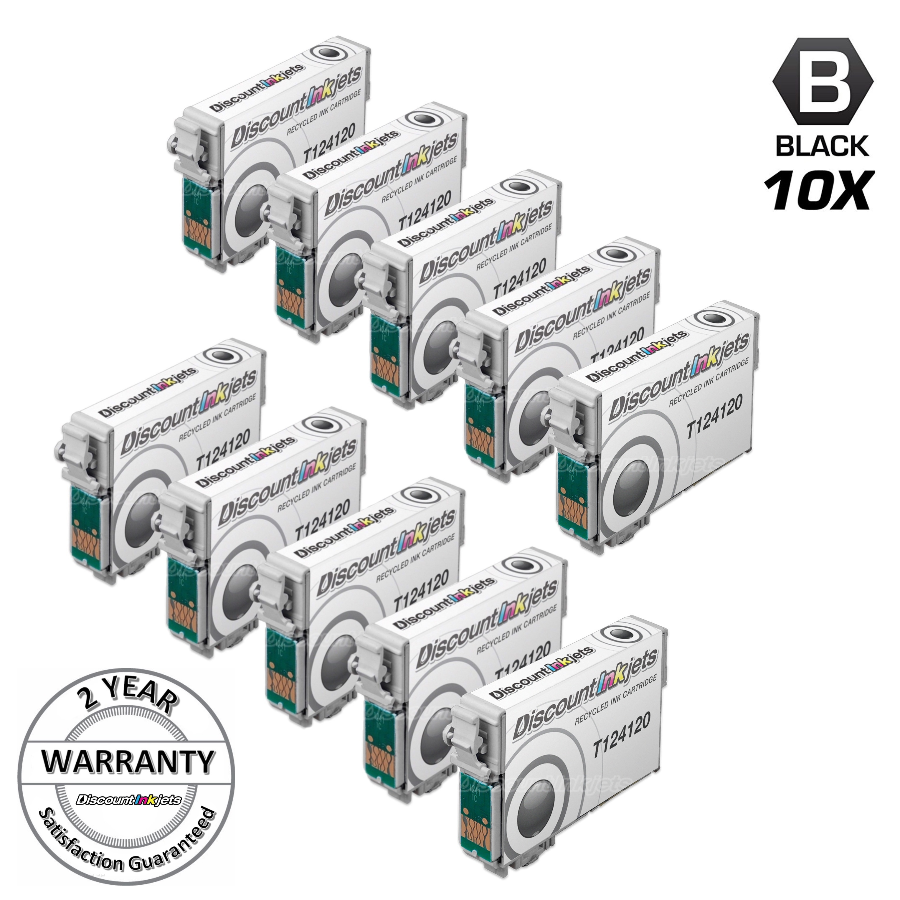 10pk BLACK T124120 T1241 Pigment ink cartridge for 124