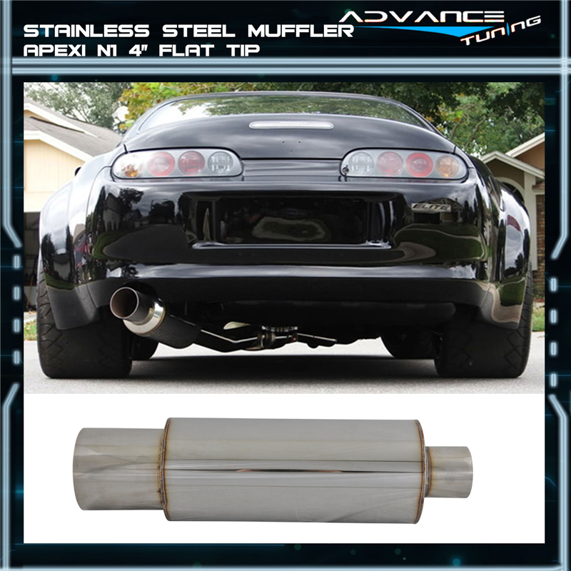 details sur 4 inch tip 2 5 inch inlet exhaust muffler silencer n1 style stainless steel