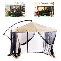 9FT Offset Tan w/ Mesh Patio Umbrella Tilt Post Deck ...