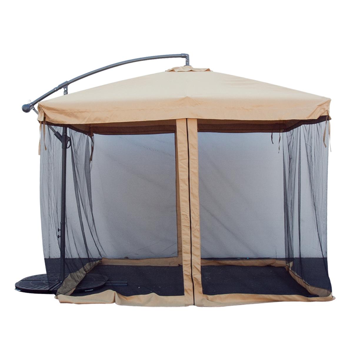 9FT Offset Tan w/ Mesh Patio Umbrella Tilt Post Deck