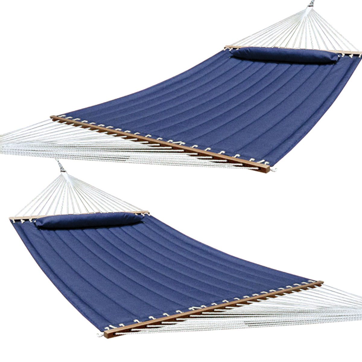 Hammock Quilted Fabric With Pillow Double Navy Spreader