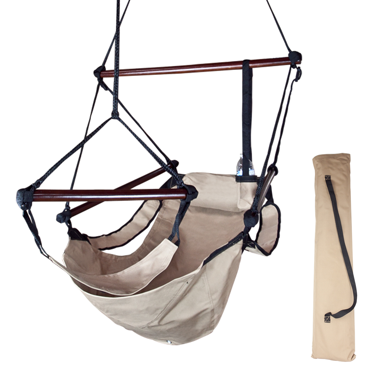 hanging patio swing chair lewis and clark camping chairs beige deluxe air hammock tree