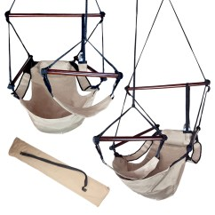 Hanging Sky Chair Eames Lounge Chairs Patio Tree Beige Deluxe Air Hammock Swing