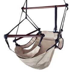 Hanging Hammock Lounge Chair Vintage Beige Deluxe Air Swing Patio Tree