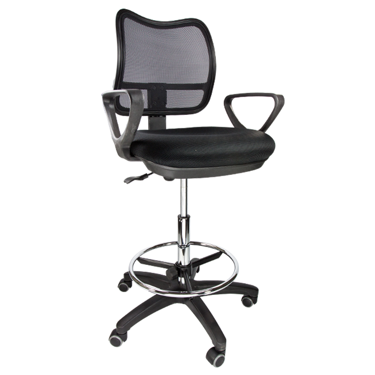 ergonomic drafting chair with arms steel folding chairs mesh stool armrest adjustable