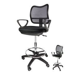 Ergonomic Chair With Footrest Blue Desk Office Drafting Stool Mesh Adjustable