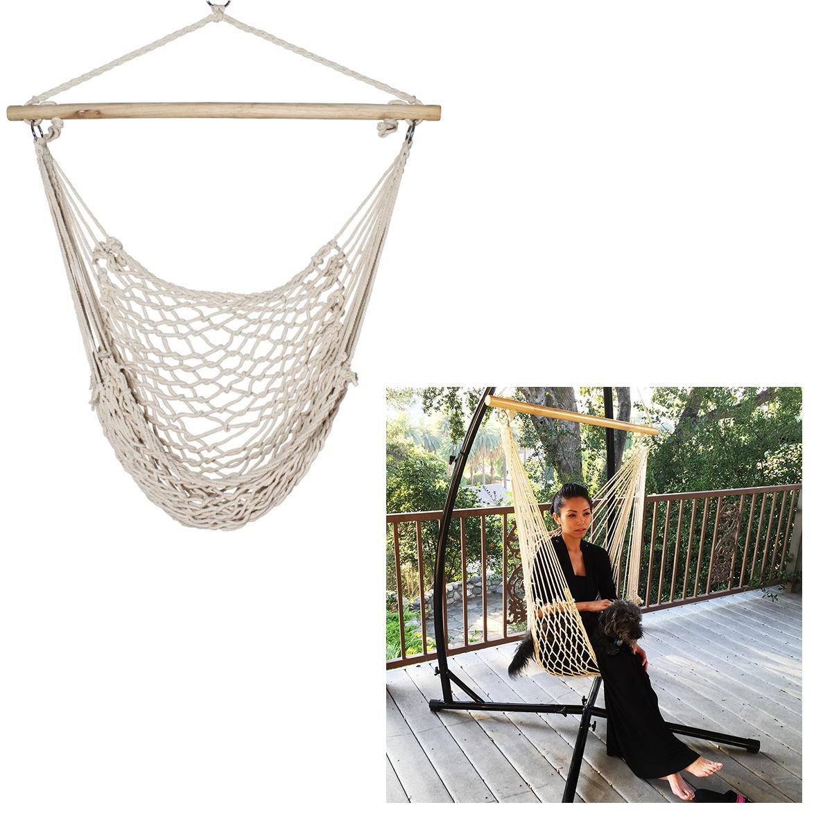 New Porch Beige Cotton Swing Rope Hammock Patio Garden Air