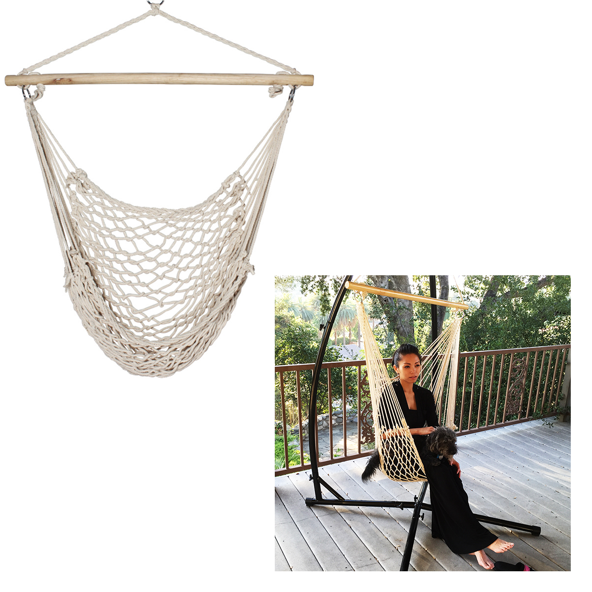 rope chair swing reupholster office armrest new porch beige cotton hammock patio garden air