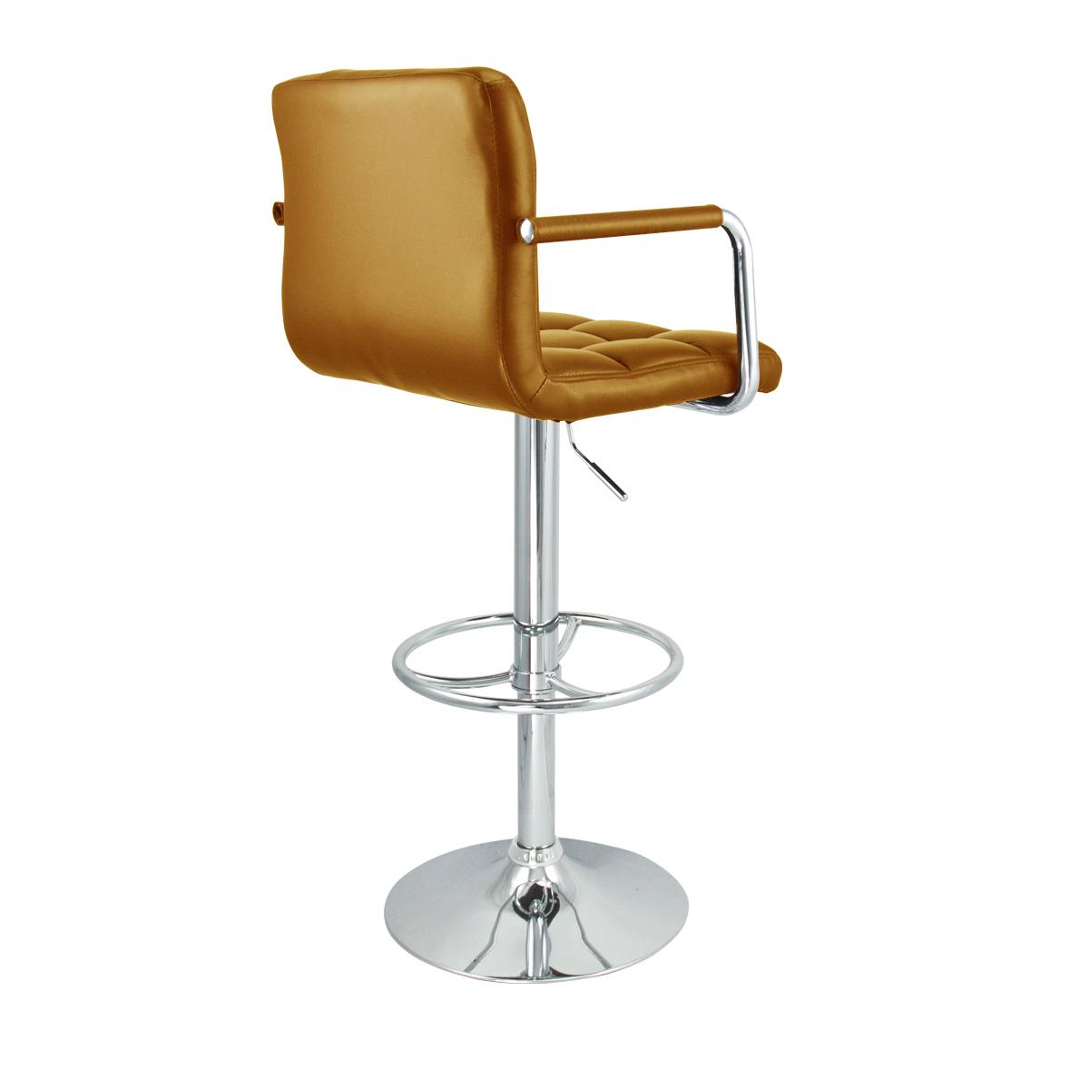 stool chair adjustable step 4 mocha arm swivel bar leather modern