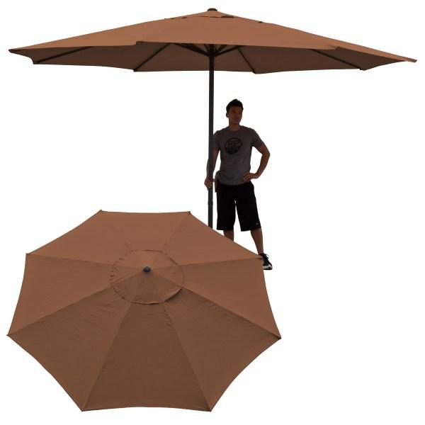 13' Ft Feet Market Patio Garden Umbrella Aluminum Canopy Canvas Cover Brown