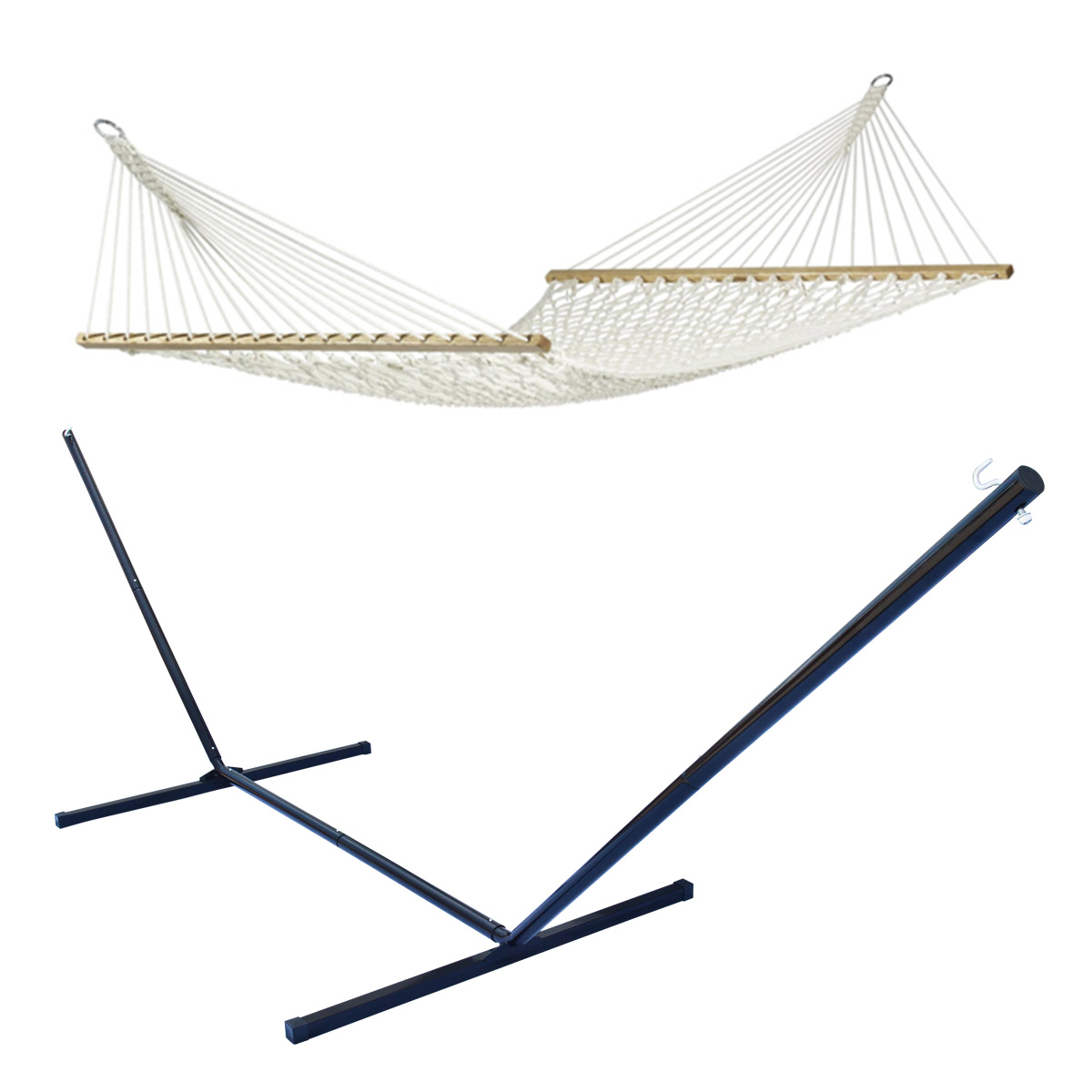 steel hammock chair stand best nursery rocking outdoor swing cotton double bed rope 43 metal