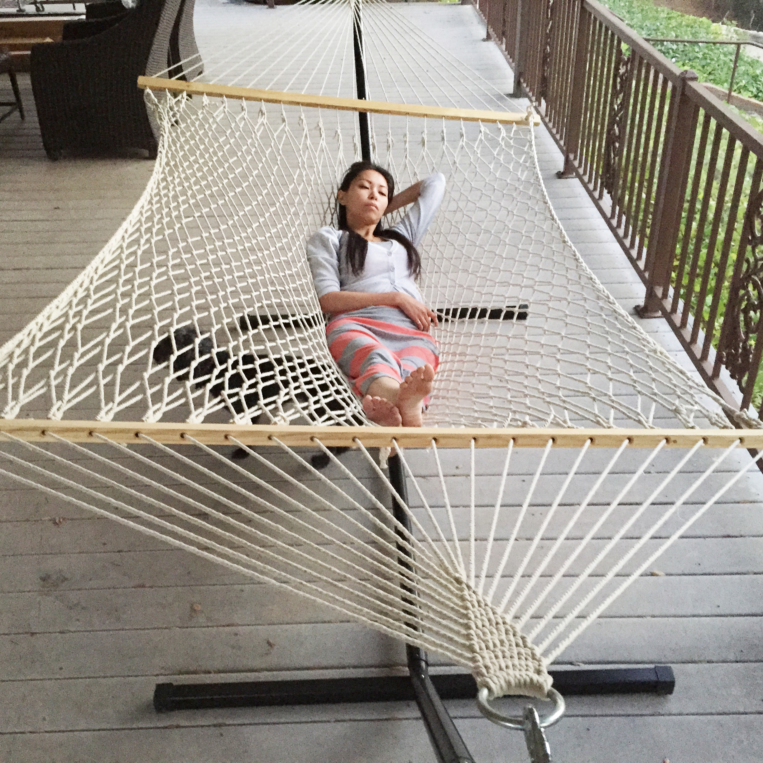 hammock chair stand kijiji oversized tufted outdoor swing cotton double bed rope 43 metal