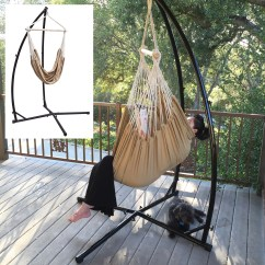 Steel Hammock Chair Stand Folding Arm Chairs C Frame New Air Porch Swing