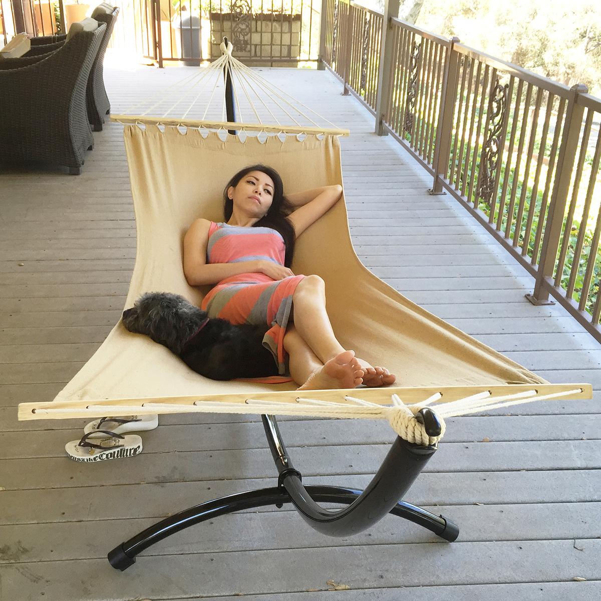 hammock chair stand calgary east coast and barstool reviews heavy duty tri beam steel outdoor patio