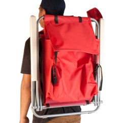 Back Pack Chair Massage Gaming Portable Backpack Beach Folding Red Solid