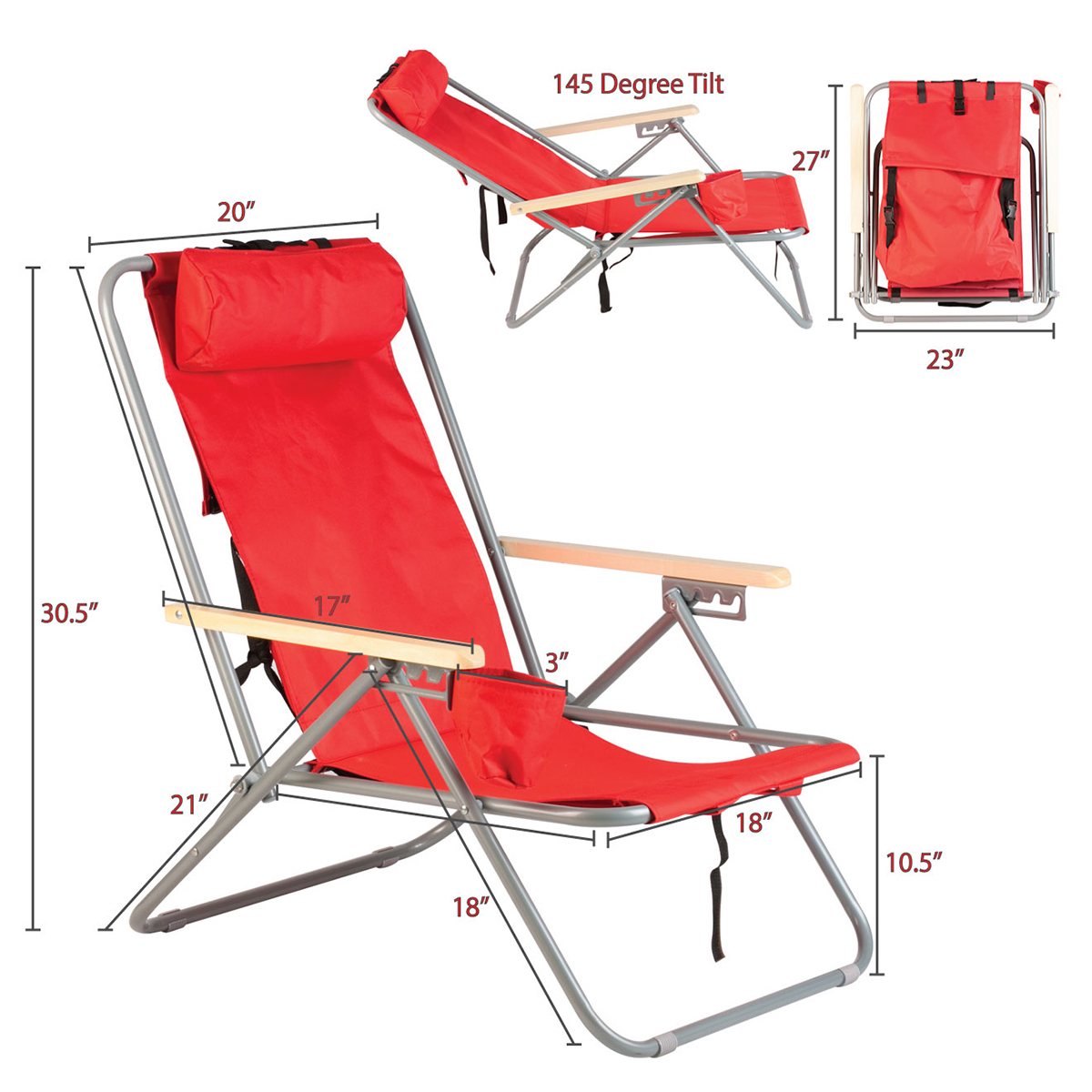 Portable Beach Chair Portable Chair Backpack Beach Chair Folding Red Solid