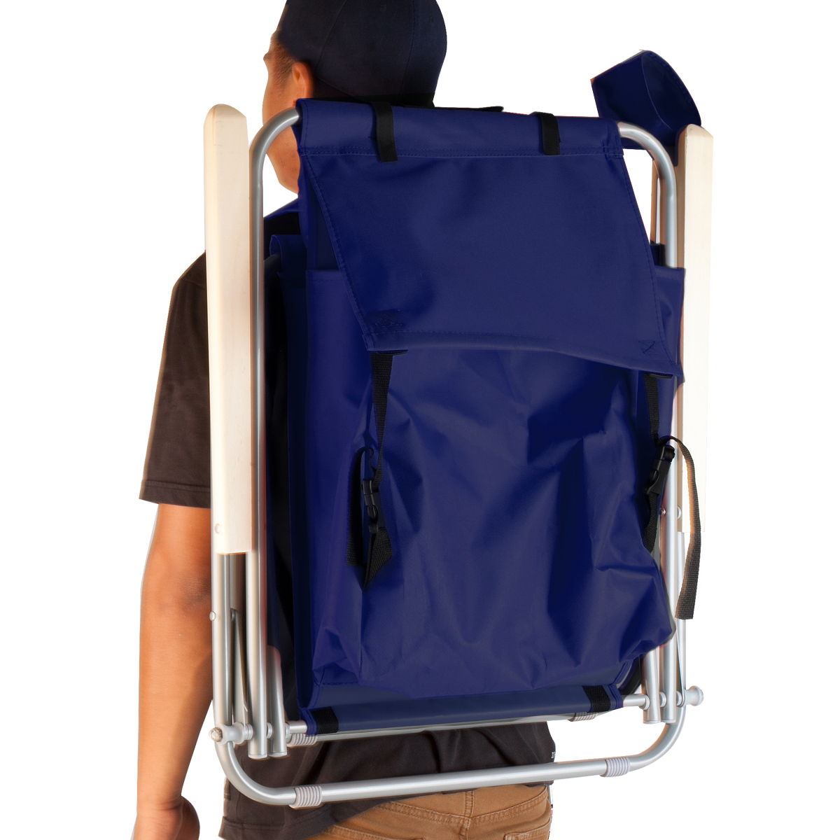 folding chair backpack power wheelchair charger blue beach portable solid