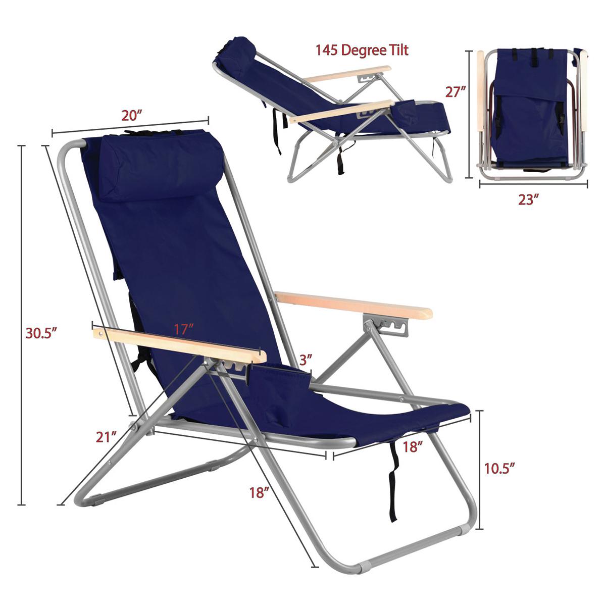 portable beach chair ergonomic seat cushion blue backpack folding solid