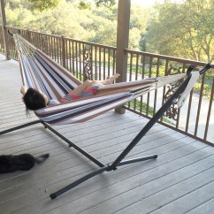 Steel Hammock Chair Stand Faux Leather Gripper Cushions Double Bed Patio Swing Includes