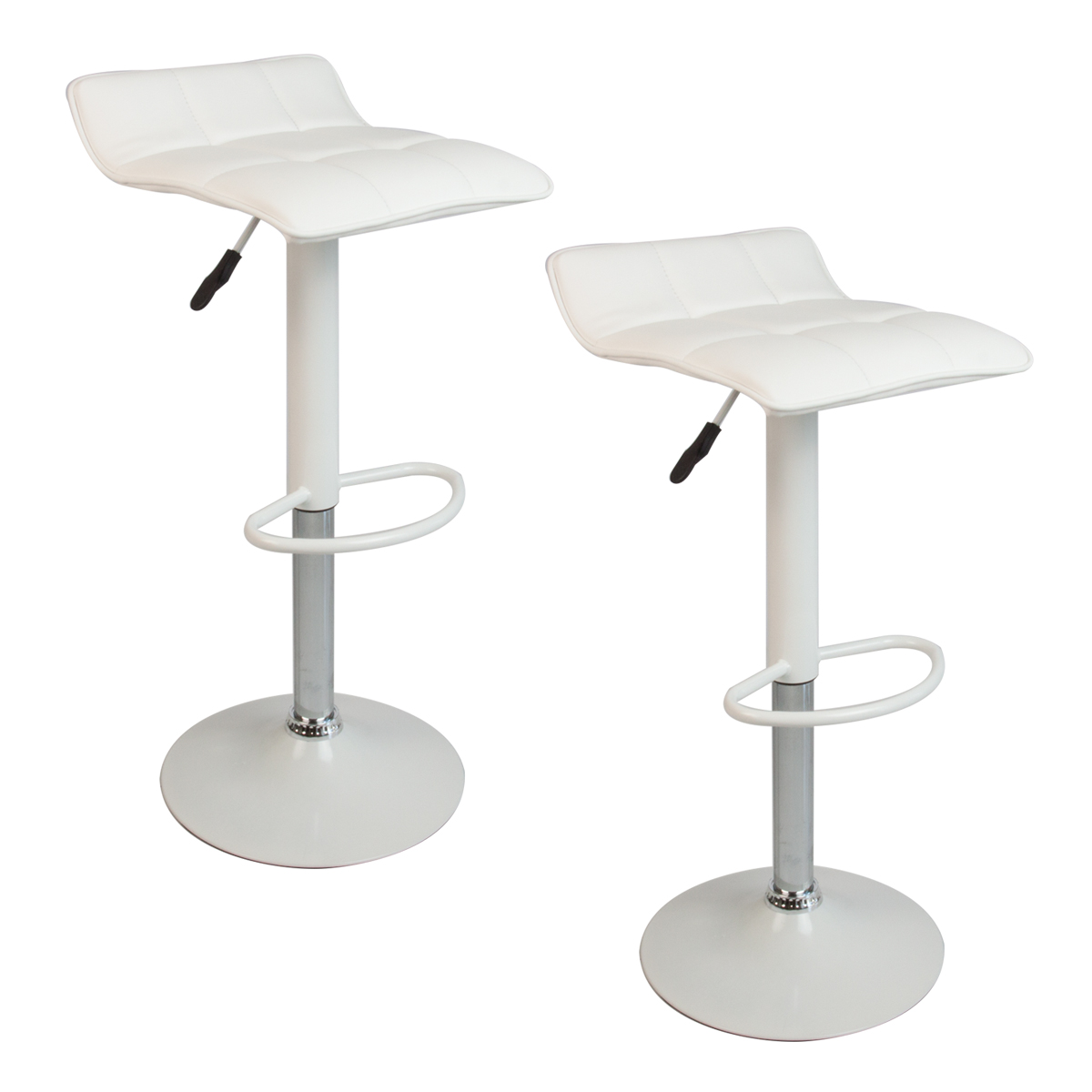 white leather bar chair hydraulic styling set of 2 stools swivel