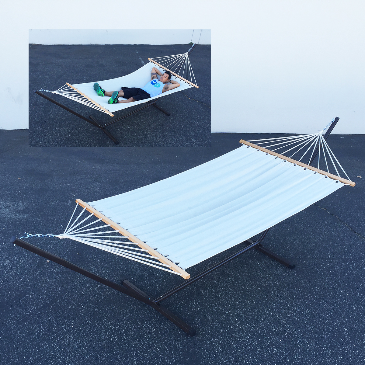 hammock chair stand kijiji posture nz canvas new outdoor swing set with camping
