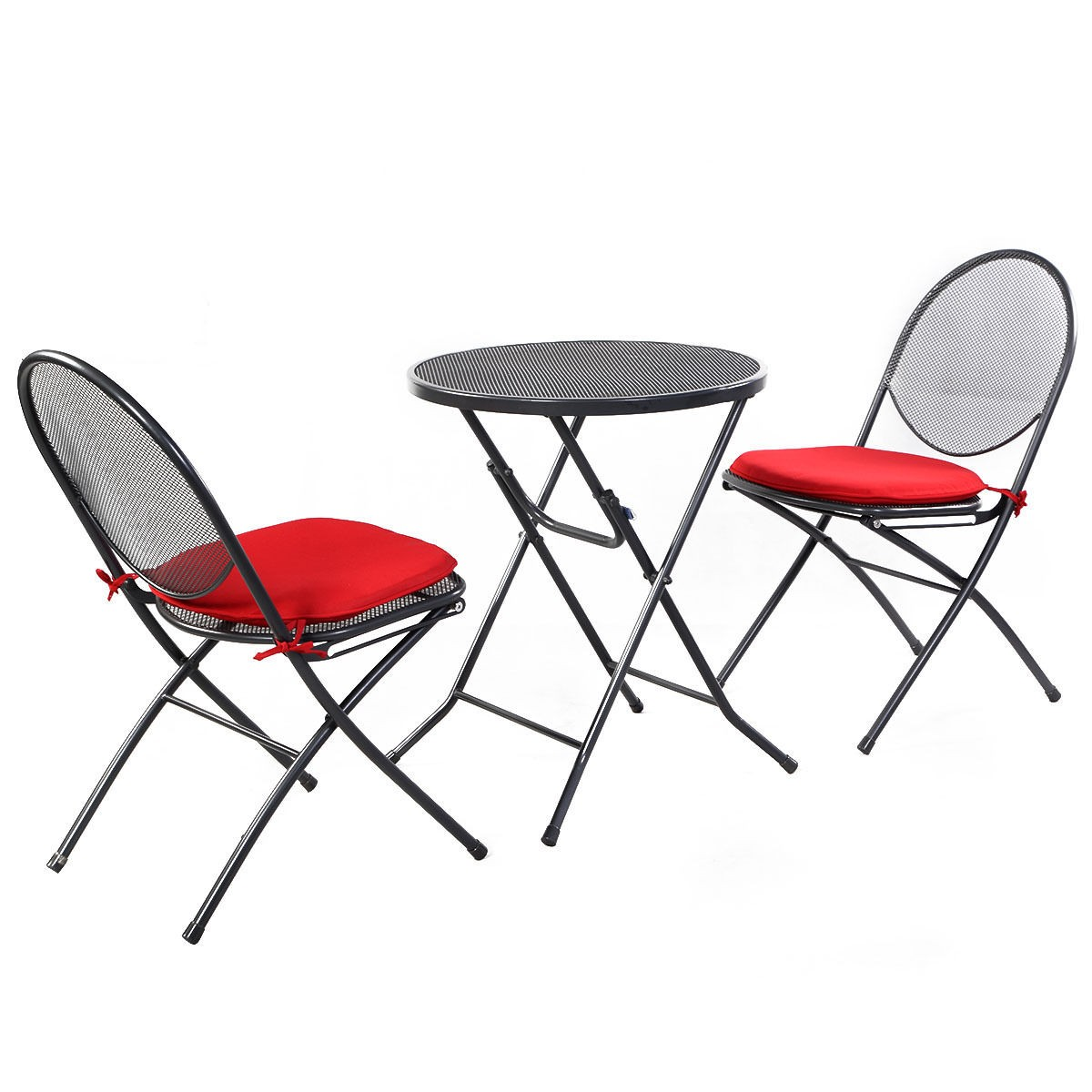 Mesh Patio Chairs 3 Pcs Folding Steel Mesh Outdoor Patio Table Chair Garden