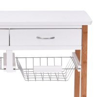 Rolling Wood Kitchen Trolley Cart Island Storage Basket ...