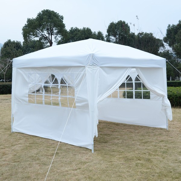 Apontus Outdoor Easy Pop Tent Cabana Canopy Gazebo With Walls 10' X White