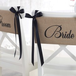 Wedding Chair Covers For Bride And Groom Old Dental Burlap Sash Set Party