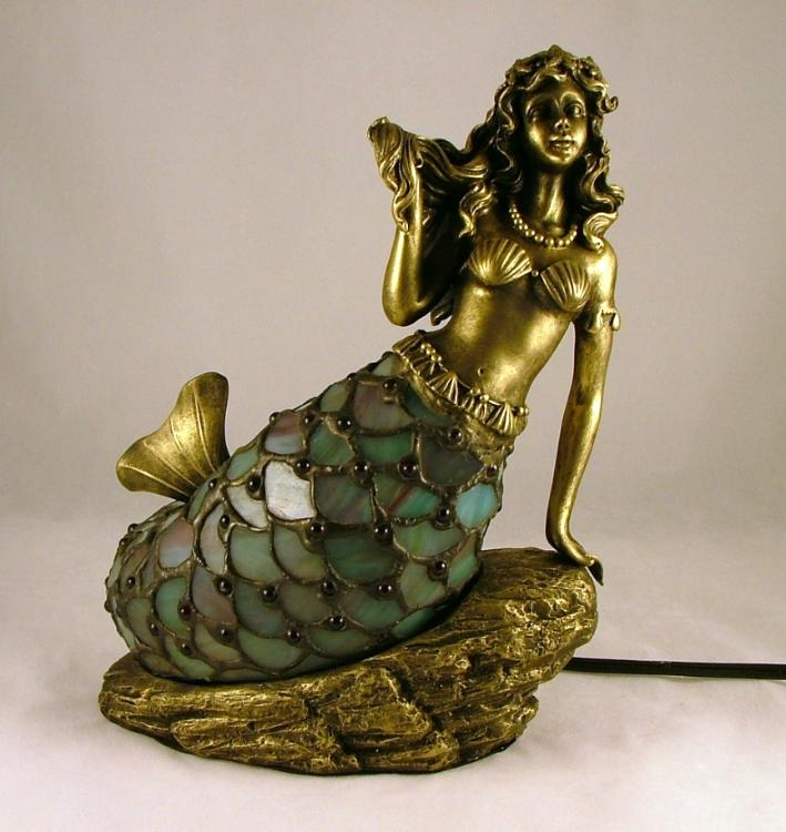 Stained Glass Tiffany Style Nautical Mermaid Siren Table Lamp