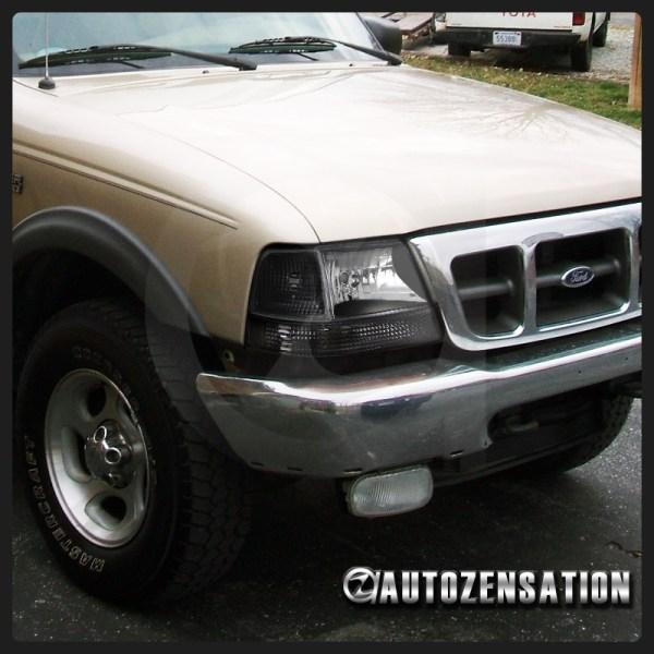1998-2000 Ford Ranger Black Headlights Corner Bumper