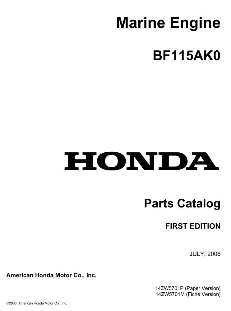 BF115AK0 Marine Engine Parts Catalog