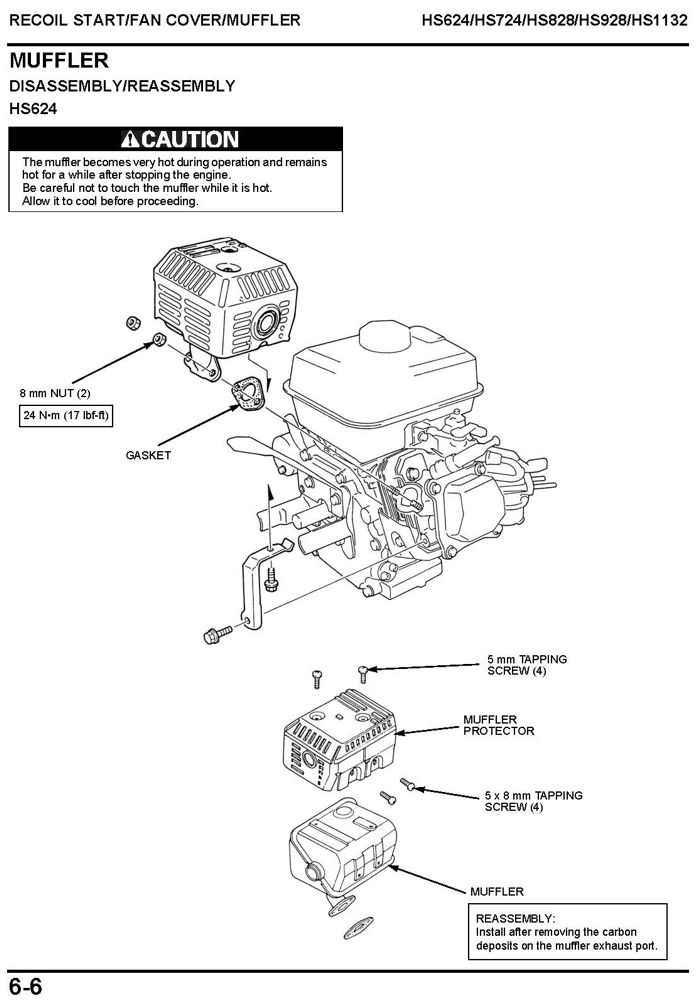 HS624 HS724 HS828 HS928 HS1132 Snow Blower Shop Manual