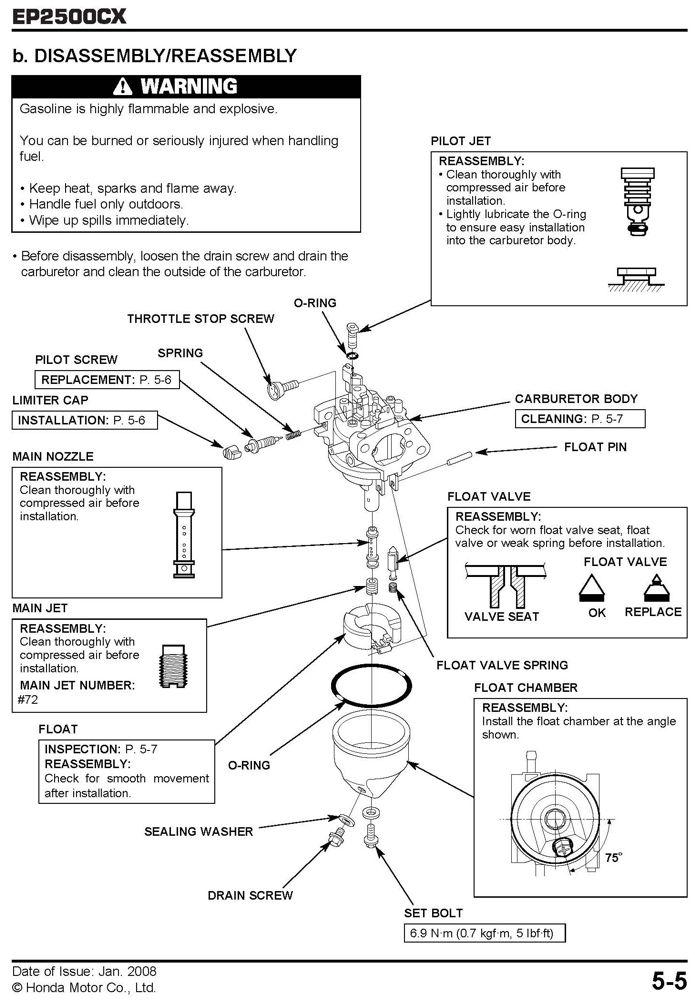 Honda EP2500 Generator Service Repair Shop Manual SLIGHT