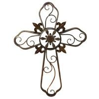 Hanging Wall Cross Fleur-De-Lis Metal Wall Decor Sculpture ...