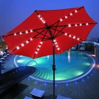 9' Patio Solar Umbrella LED Tilt Aluminium Deck Outdoor ...