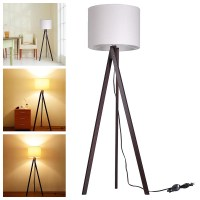 "57"" Deluxe Modern Wood Tripod Table Reading Floor Lamp ..."