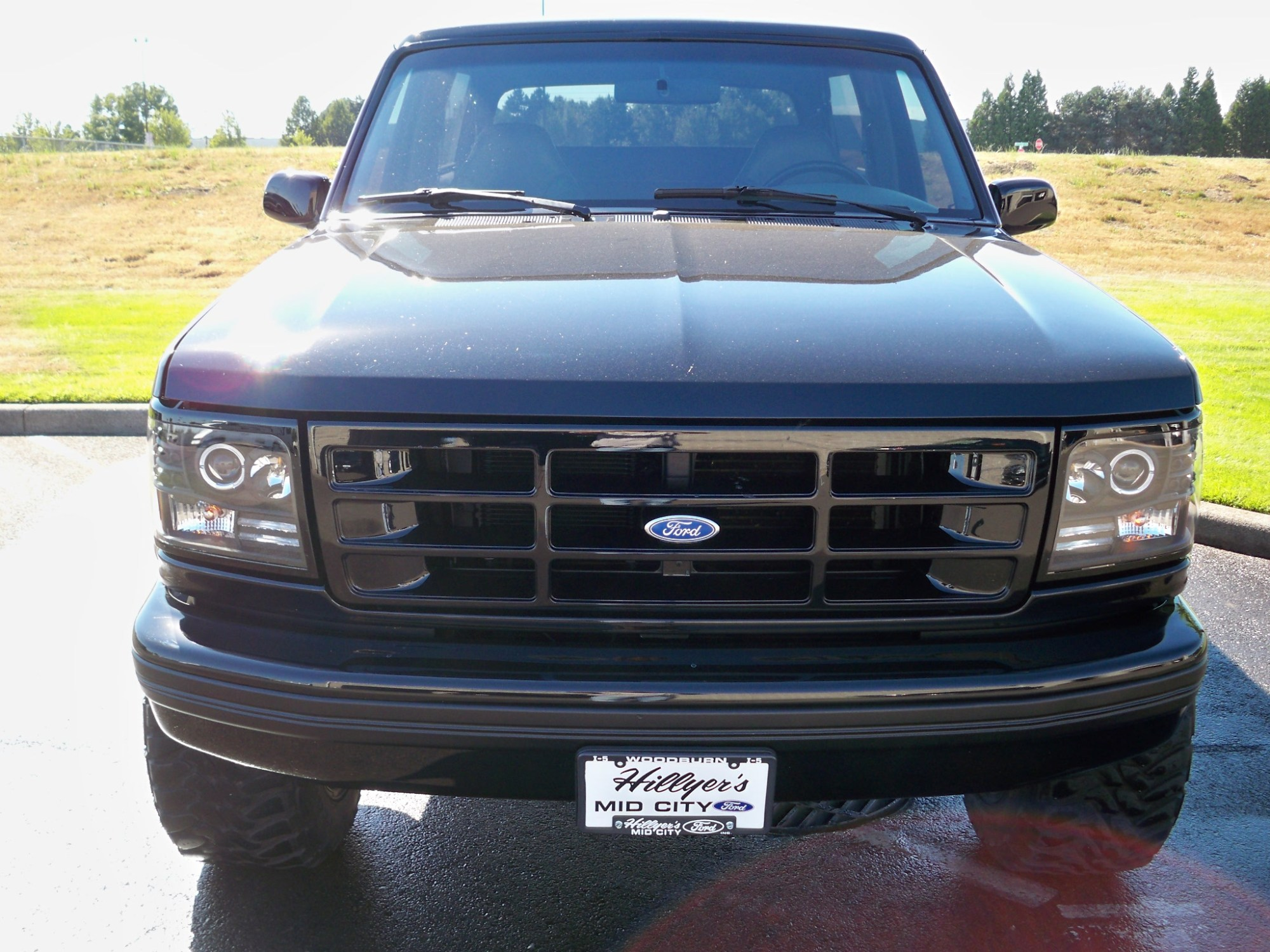 hight resolution of  led halo 1992 1996 ford bronco f150 f250 f350 projector black headlights pair ebay