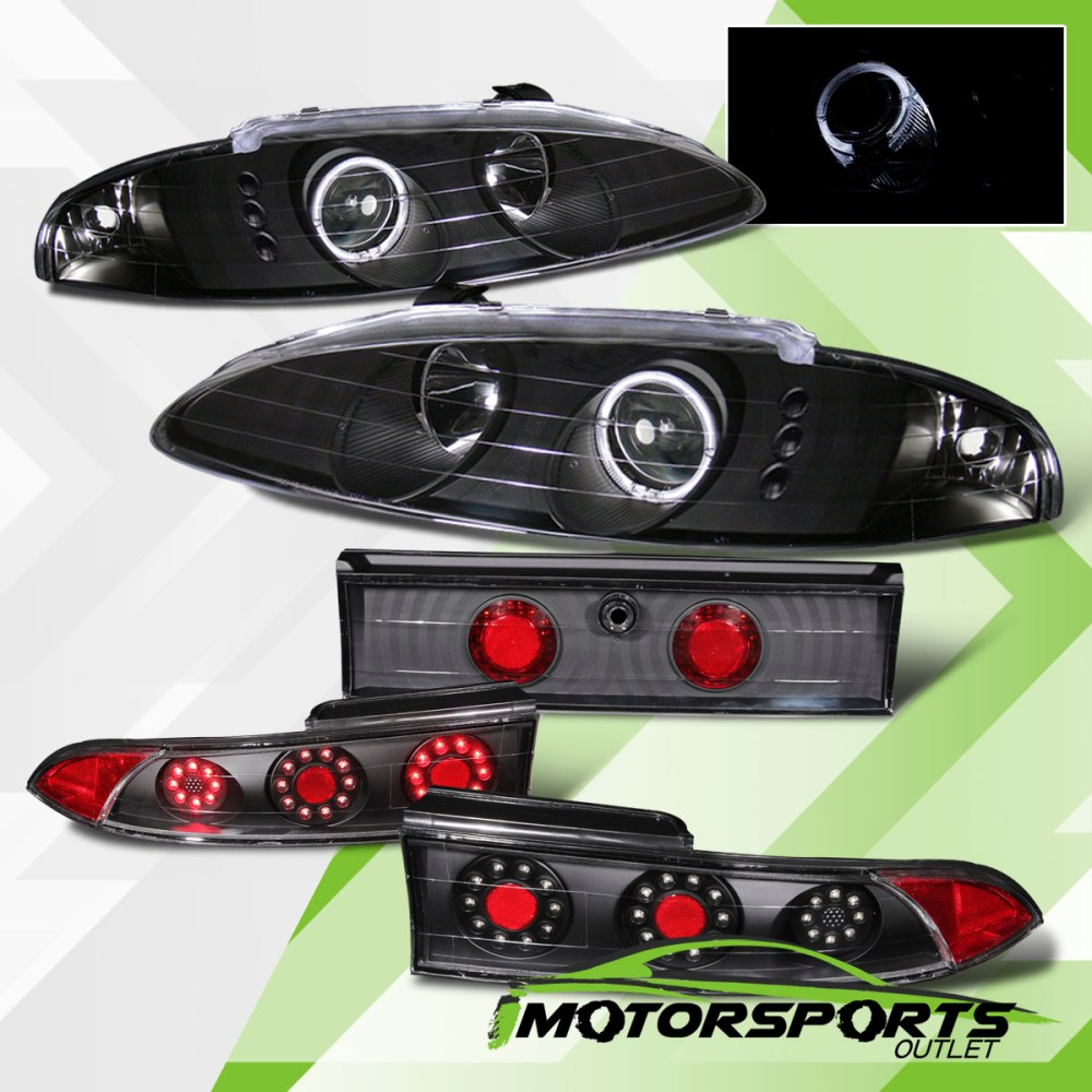 medium resolution of details about 95 96 eclipse blk halo projector headlights led tail lights brake lamps