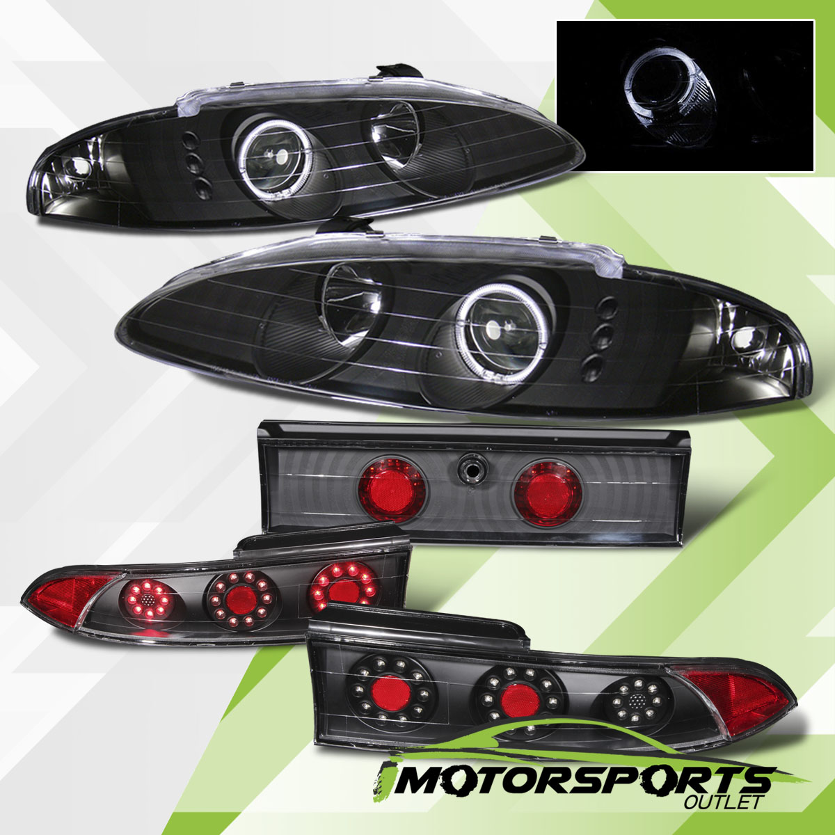 hight resolution of details about 95 96 eclipse blk halo projector headlights led tail lights brake lamps