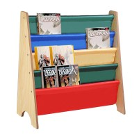 Wood Kids Book Shelf Sling Storage Rack Organizer Bookcase ...