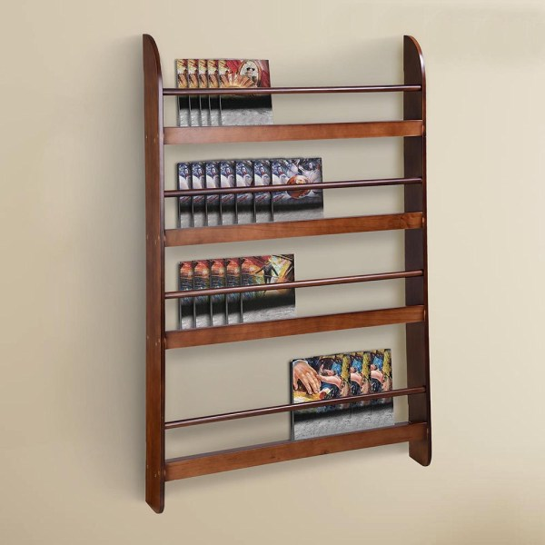 Wood Wall Mounted Bookshelf Floating Bookcase Display