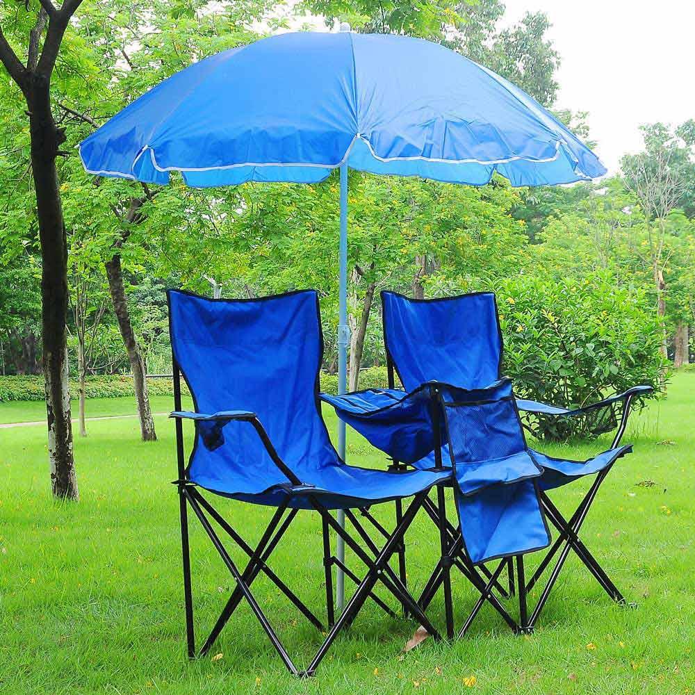 Portable Folding Picnic Double Chair wUmbrella Table