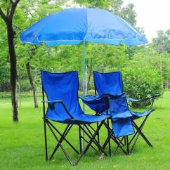 Portable Beach Chair With Umbrella Clear Perspex Dining Chairs Folding Picnic Double W/umbrella Table Cooler Camping   Ebay