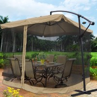 9X9' Square Aluminum Offset Umbrella Patio Outdoor Shade w ...