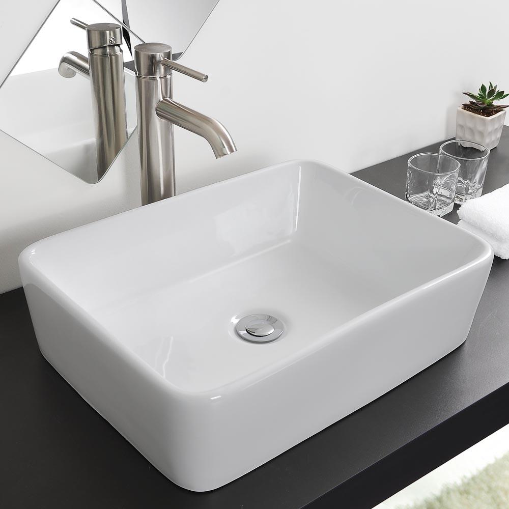 Bathroom Porcelain Ceramic Vessel Sink Chrome Pop Up Drain