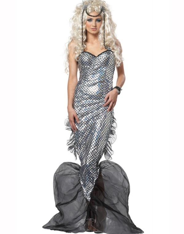Mystic Mermaid Silver Black Dress Adult Womens Outfit