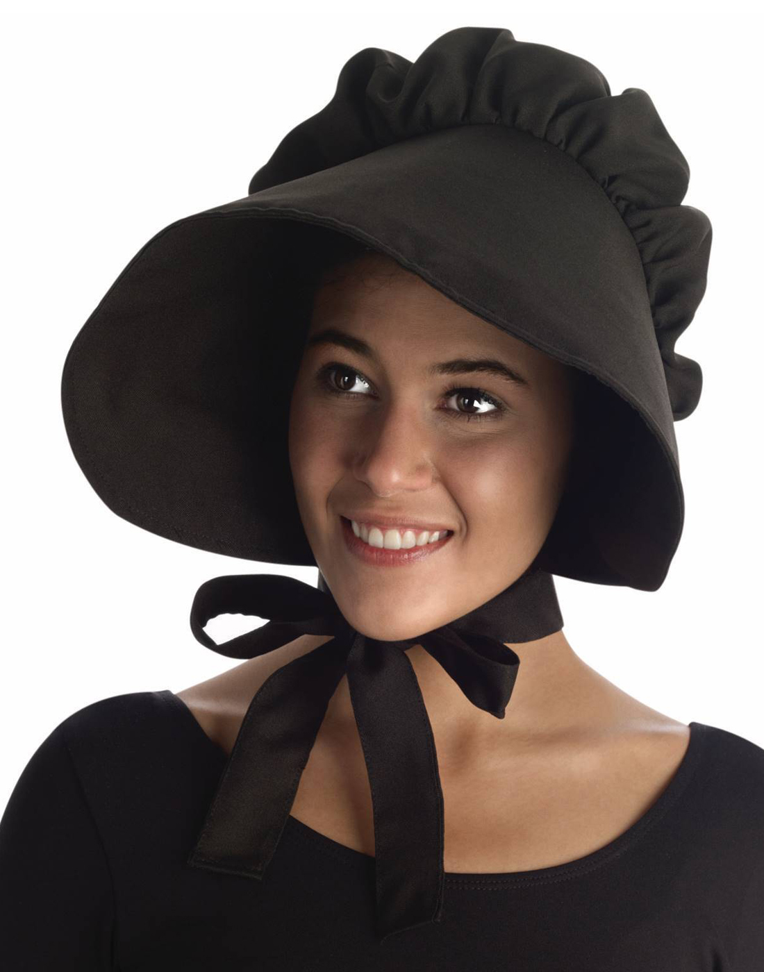 Womens Black Prairie Amish Pilgrim Bonnet Thanksgiving