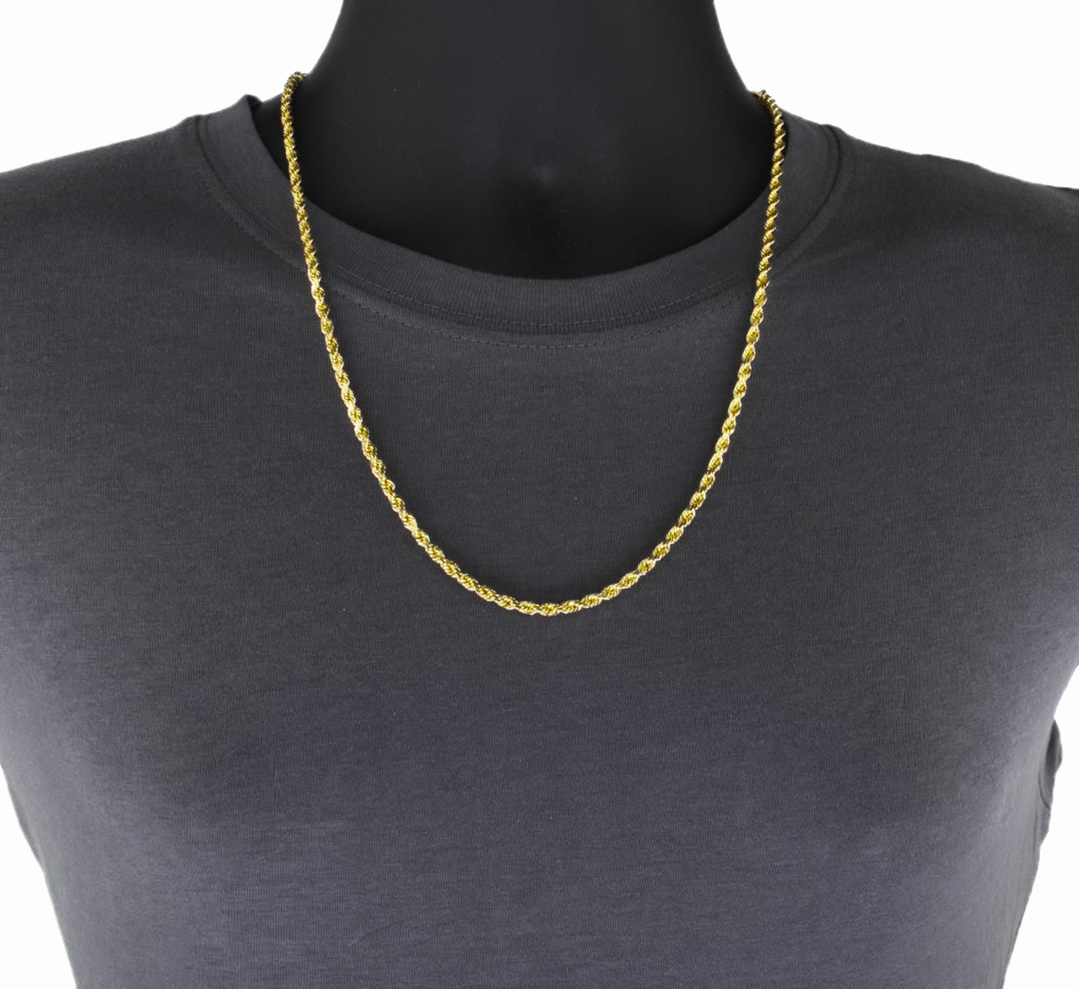 10k Solid Yellow Gold 5mm Wide Diamond Cut Italian Rope Chain Necklace 20