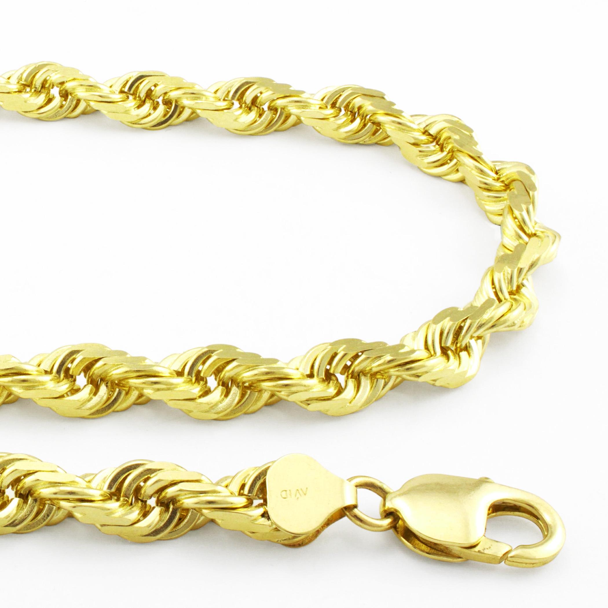 14K Diamond Cut Rope Chain 2.5Mm
